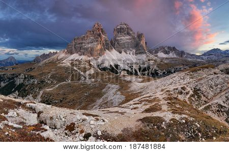 Majestic landscape mountain with Tre Cime peak before sunrise.
