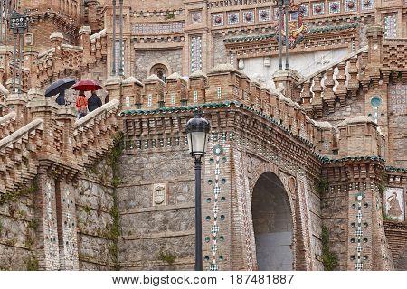 Mudejar art. Spanish architecture landmark heritage. Staircase. Teruel Aragon