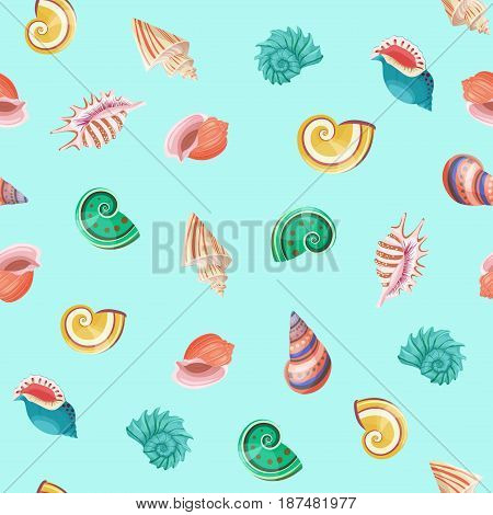 Seashells seamless vector realistic pattern colored isolated