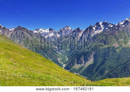 High Caucasus mountains. Svaneti.Georgia. Bezengi wall.