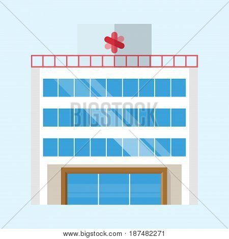 Cute colorful flat style hospital house village pixel art real estate cottage and home design residential colorful building construction vector illustration. Graphic exterior neighborhood place.