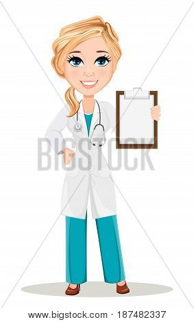 Doctor woman in medical gown with stethoscope. Cute cartoon doctor character. Vector illustration. EPS10