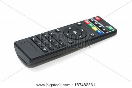 Modern compact TV remote control on white background