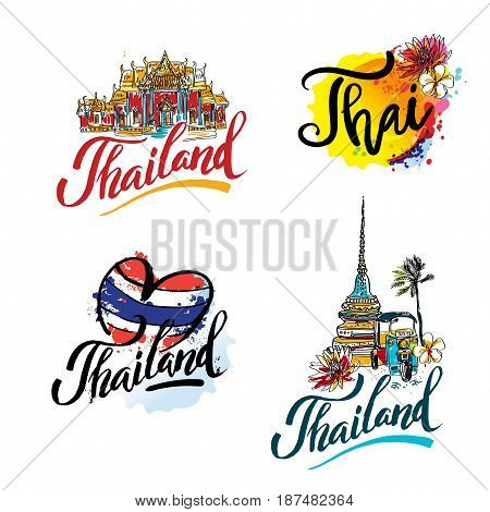 A vector illustration of hand drawn elements for traveling to Thailand, concept Travel to Thailand. Lettering logo set.