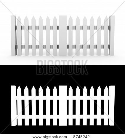 Illustration of a traditional wooden fence. 3d render With alpha channel