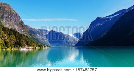 Picturesque mountain lake in Norway
