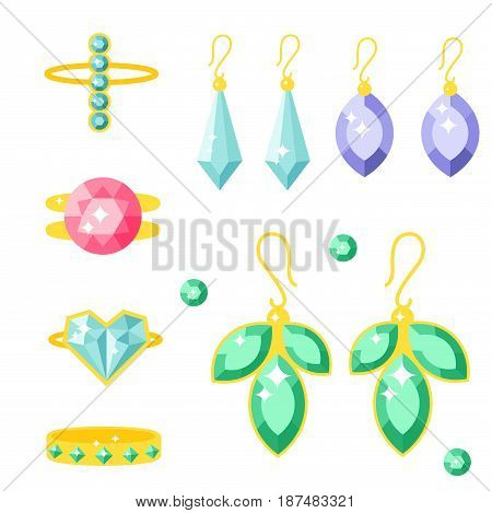 Set of vector jewelry items gold and gemstones precious accessories fashion items vector illustration. Beauty pendant symbol tiara necklace pearl beads ring earrings bracelet brooch.