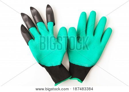 green new garden gloves with plastic claws