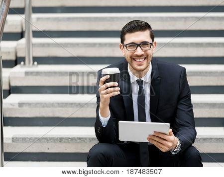 Portrait of handsome businessman outdoor