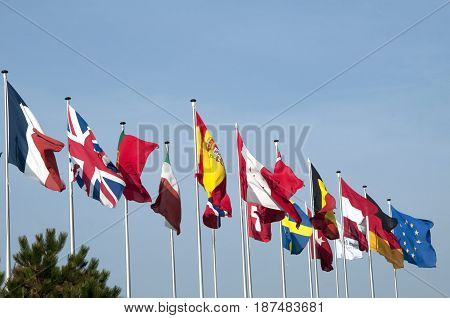 A row of flags from various European countries.