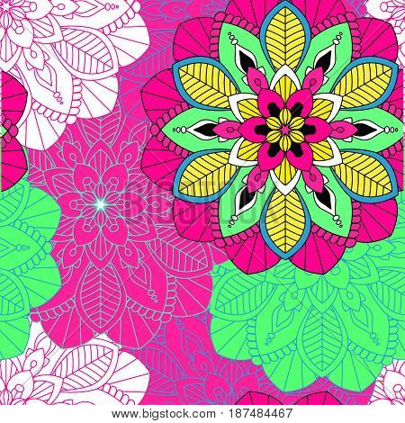 Mandala seamless pattern, floral elements, decorative ornament. Repeat pattern background. Arab, Asian, ottoman motifs. Vector illustration