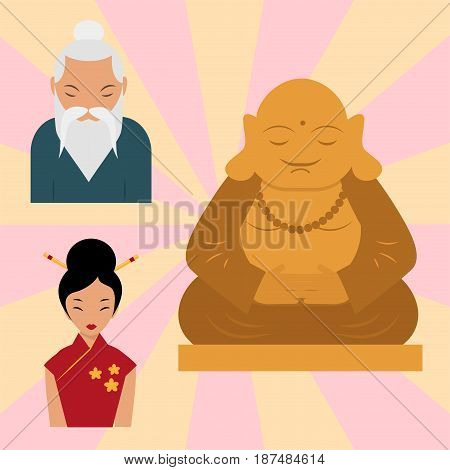Budda statue from thailand harmony budha culture spiritual meditation sculpture vector illustration. Ancient face god temple india religious ethnic peace buddhis.