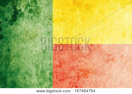 Benin flag grunge background. Background for design in country flag