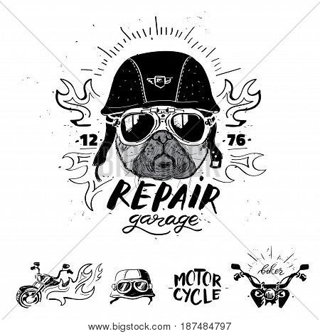 Biker pug dog. Set of vintage motorcycle emblems, labels, badges, logos and design elements. Monochrome style.