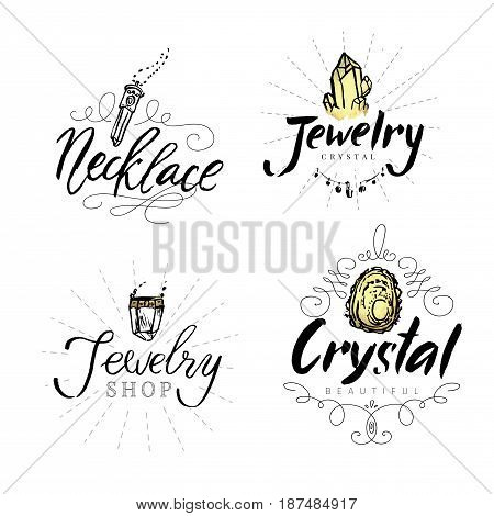Jewelry label with watercolor elements. Geometric polygonal crystals hand drawn isolated on white background. Geometric shapes. Best for jewellery shop.