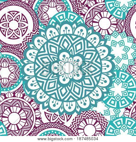Flower Mandala seamless pattern background. Oriental pattern, vintage decorative elements. Islam, Arabic, Indian, moroccan, turkish, ottoman motifs. Blue white and purple colors Vector illustration
