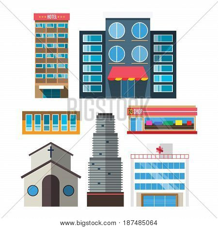 Downtown skyscraper shop on shiny glass facades modern flat style vector illustration Construction abstract street cityscape exterior isolated on white background.