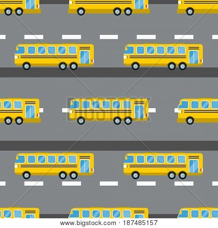 City tourist bus transportation vehicle vector illustration. Public road urban travel passenger commercial car. Street traffic design view side automobile seamless pattern.