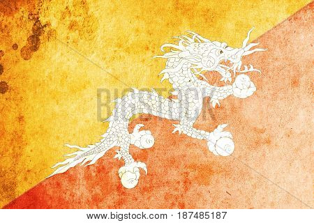 Bhutan flag grunge background. Background for design in country flag