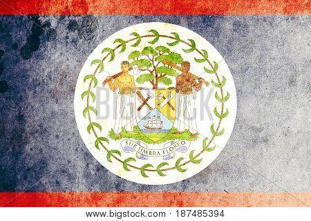 Belize flag grunge background. Background for design in country flag
