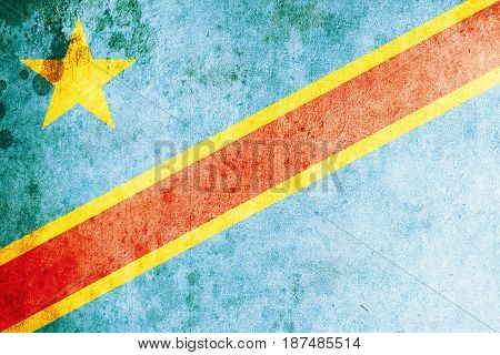 Democratic Republic Of The Congo flag grunge background. Background for design in country flag