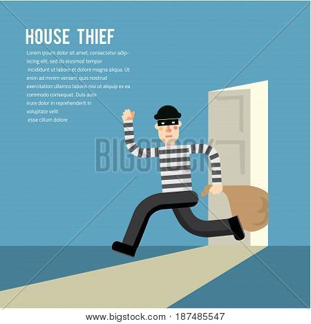 Simple cartoon of a burglar break into a house in flat stele Vector illustration