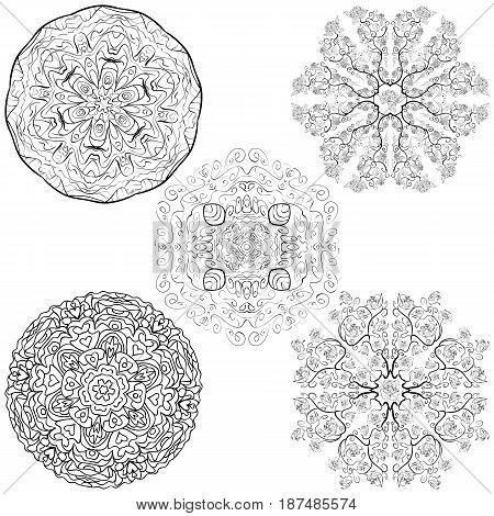 Oriental round design elements Tribal mandala set native tribal style five mandalas flowers set