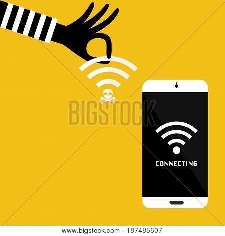 Hacker hand with unsecured public wireless hotspot for victim mobile phone connecting. Vector illustration business cybercrime concept.