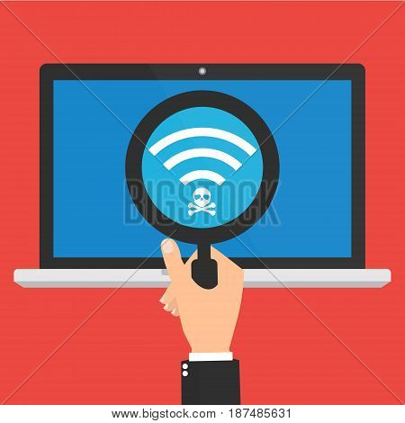 Businessman hand hold a magnifying glass found a computer laptop connect to unsecured public wireless hotspot. Vector illustration business cybercrime concept.