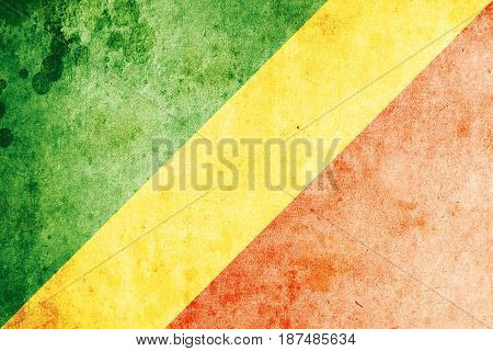 Republic Of The Congo flag grunge background. Background for design in country flag