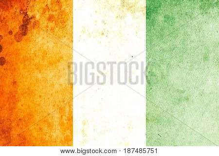 Côte d'ivoire flag grunge background. Background for design in country flag