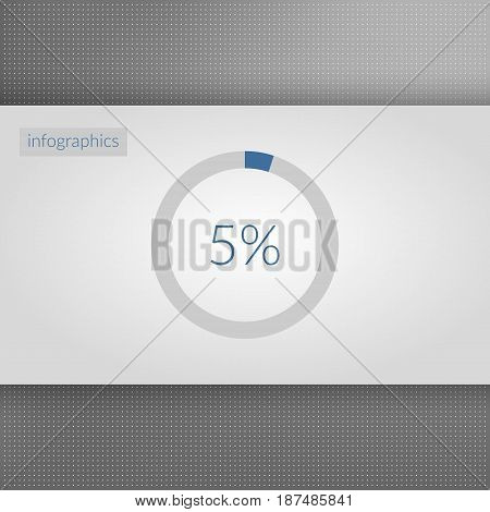 5 percent pie chart symbol. Percentage vector infographics. Blue and grey five circle diagram sign. Business element illustration