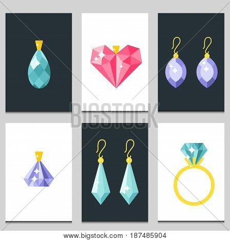 Set of vector jewelry items gold cards and gemstones precious accessories fashion items vector illustration. Beauty pendant symbol tiara necklace pearl beads ring earrings bracelet brooch.