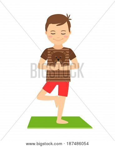 Young boy standing in yoga pose isolated on white background. Yoga kids vector illustration