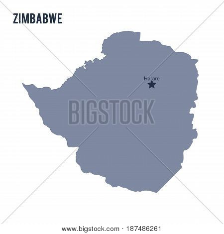 Vector Map Of Zimbabwe Isolated On White Background.