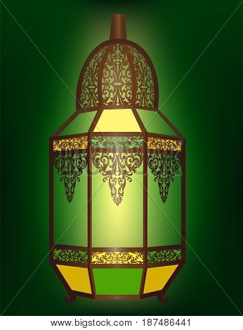 Brass Arabic Lantern with Ornament on a Green Background