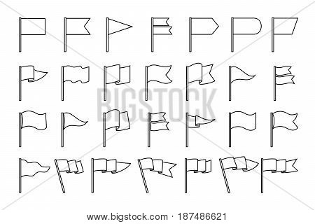 Waving flag linear pictograms. Vector line flags icons isolated on white background