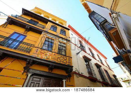 Old Street And Buildings In Seville.
