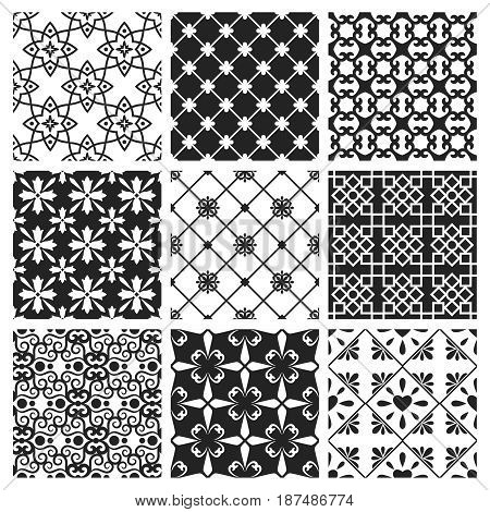 Spanish or portugal traditional kitchen tiles. Vector interior moroccan design black ceramic set