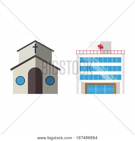 Cartoon church facade vector illustration cathedral exterior christianity architecture. Catholic europe tower landmark worship city medieval ancient famous construction.