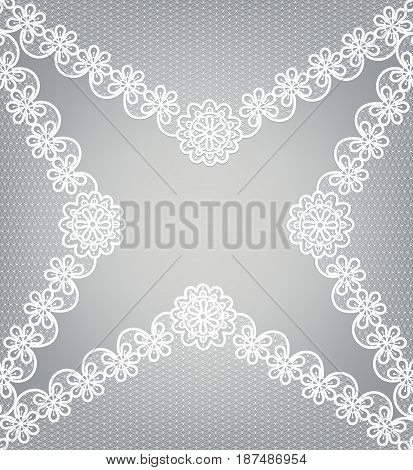 white lace pattern on a gray background