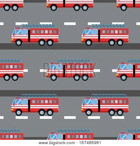 Fire truck carcartoon silhouette seamless pattern. Fire truck mobile fast emergency service fast moving. Vector illustration rescue fire emergency truck background.