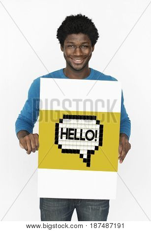 Hello Hi Greeting Speech Bubble Holding Board