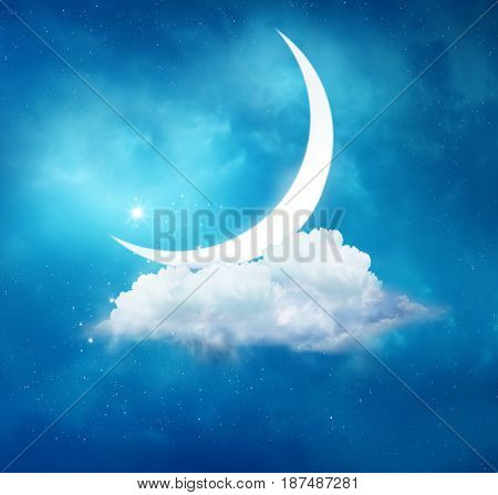 Ramadan Kareem background.Crescent moon and cloud