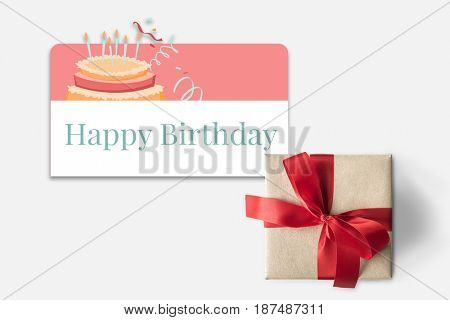 Gift box and Illustration of birthday party event celebration with cake
