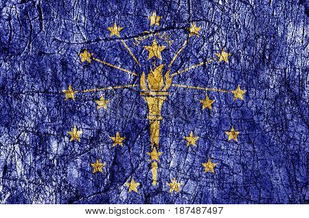Grudge stone painted US Indiana flag close