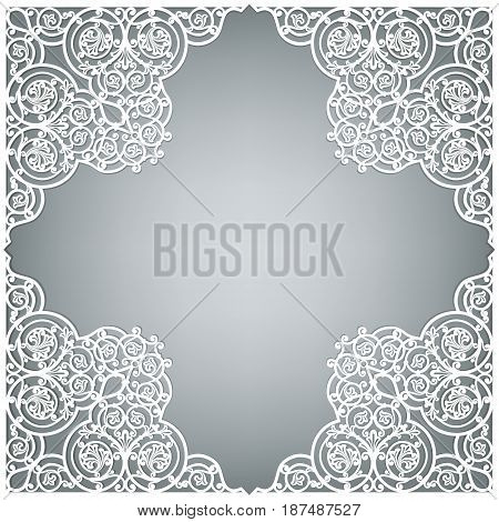 White openwork frame on a gray background with space for text