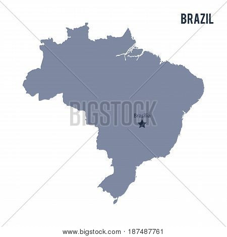 Vector Map Of Brazil Isolated On White Background.