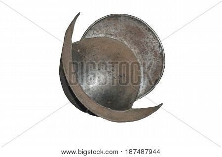 Medieval historical helmet of a knight armor on white background