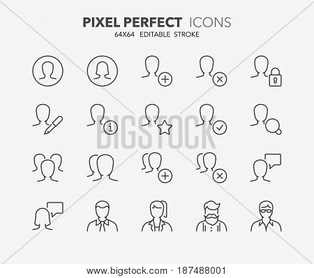 Thin line icons set of user interface and avatars. Outline symbol collection. Editable vector stroke. 64x64 Pixel Perfect.